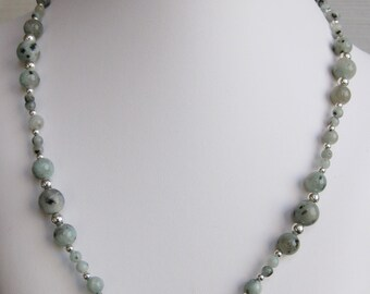 Sesame Jasper Round Bead Necklace