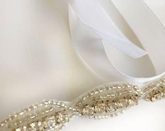 Rhinestone Bridal Headband, Beaded Headband, Jeweled Headband, Crystal Bridal Headband, Rhinestone Head Piece, Wedding Headband, Bride