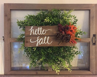 Hello fall sign, fall decoration, wooden fall sign, fall decor, rustic fall decor, hello fall decoration, hello fall wood sign