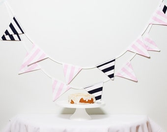 "Good Will Bunting ""Varsity"" Navy and Pink Fabric Bunting"