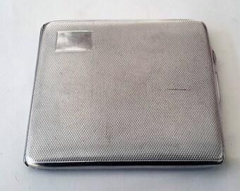 Cigarette case, card case, chromium plated vintage tobacciana, silver tone cigaret holder.