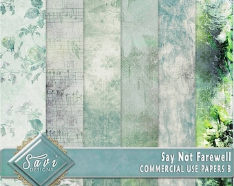 CU Commercial Use Background Papers set of 6 for Digital Scrapbooking or Craft projects Say Not Farewell Set B Designer Stock Papers