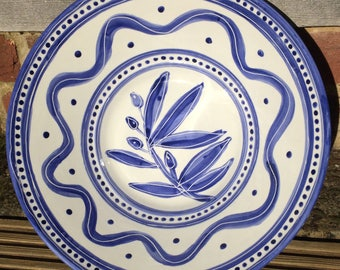 Blue and white olive bowl