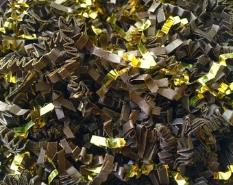 4oz Brown and Gold - Crinkle Cut Paper Shred - Gift Basket Filler, Packing Materials
