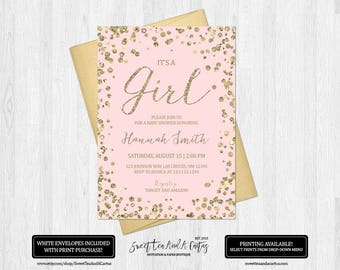 Blush Pink and Gold Baby Shower Invitation Glitter Confetti Girl Baby Shower Invites Party Printable Digital File or Printed Invitations