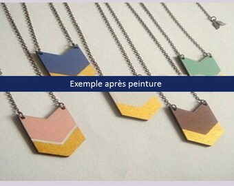 Set of 2 charms in wood, paint yourself! Geometric triangles / graphics