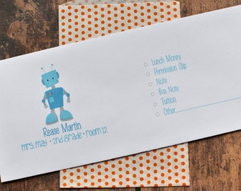 Personalized School Money Envelope for Money and Notes - Robot Design - Personalized School Envelopes - Robot School Envelope Design