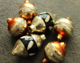 Mercury Glass Ornaments Black and Orange Beads - Fall Autumn Garland Large Vintage Style Halloween Beads - Silver Feather Tree Decorations