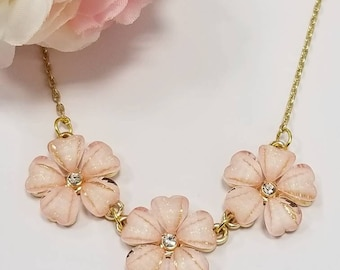 Crystal flower statement necklace, gold floral necklace, mothers day gift, pink, peach, ivory flower petal necklace