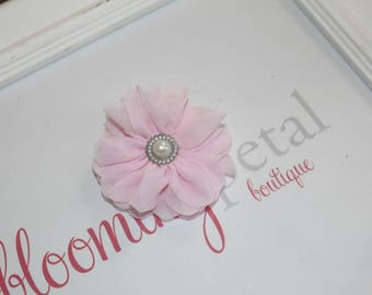 Light Pink Chiffon Rhinestone Flower Clip