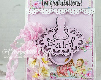 Handmade Congratulations Baby Girl Pacifier Greeting Card