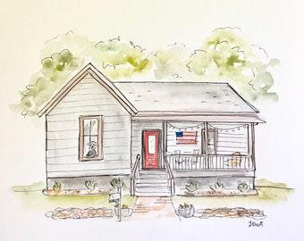Custom home illustration, Archival Quality 8x10