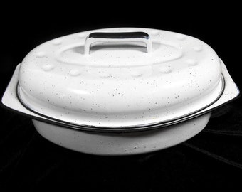 Vintage White Enamel Pot - Roasting Pot, Retro Enamel Pan, White Enamel Dutch Oven, Mid Century Enamel Pan, White Speckled Enamel Pan