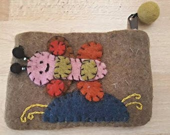 Hand Crafted Nepal Bee Felt Zip Purse (Khaki Olive Green)
