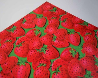 Vintage Any Occasion Wrapping Paper Red Green Strawberries Strawberry Gift Wrap