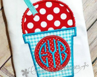 Snowcone Snowball Snocone Snoball Shaved Ice Monogram Digital Machine Embroidery Applique Design 4 Sizes Natural Circle Embroidery Font