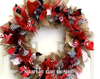 U of U Wreath University of Utah Red and White Wreath Game Day Wreath Front Door Decoration Rag Wreath Custom Wreath Any Team Colors