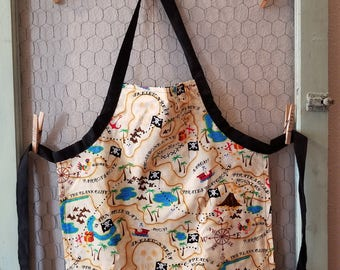 Pirate Apron,Treasure Map,Skull and Crossbones,Toddler Apron,Kids Apron,Kids Arts & Crafts,Reversible Apron,Kids Gift Under 20,Artist Smock