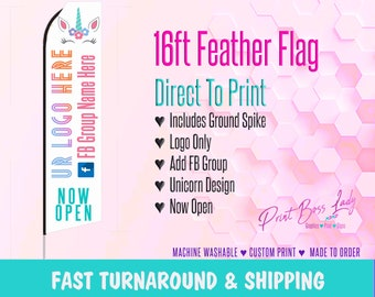 LLR Unicorn Consultant Flag Now Open Multi Color Design, Pop Up Flag, LLR Sign, Next Day Shipping LLR Style w/ Pole