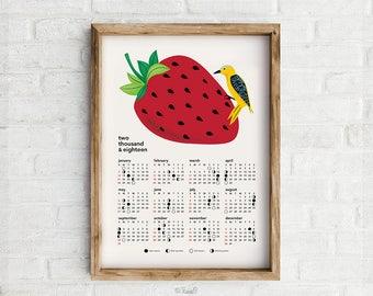 2018 Calendar Art Print, Lucky Bird featuring Moon Phases