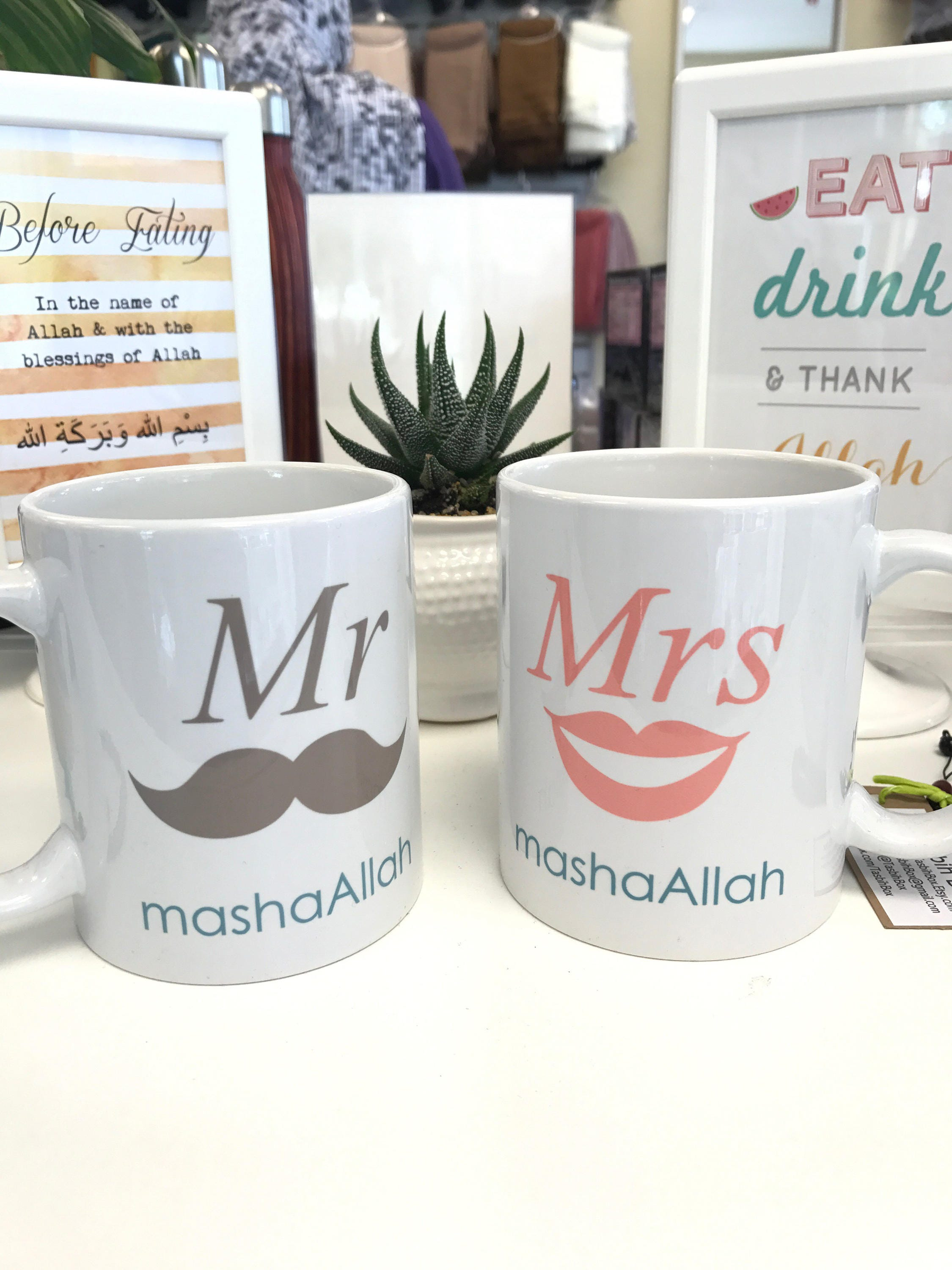 Mr and Mrs Masha Allah mugs Muslim Gift for Couple. Islamic