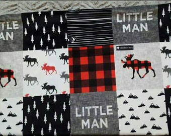 Red/Black Wilderness Minky Baby Blanket, Minky blanket, baby blanket, boy blanket