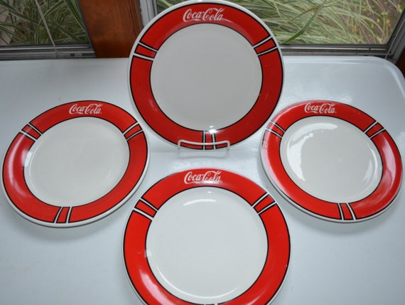 & Vintage Coca Cola Coke Dinner Plates SET of 4 Gibson