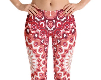 Red Yoga Pants, Printed Leggings for Women, Mid Rise Waist Yoga Pants