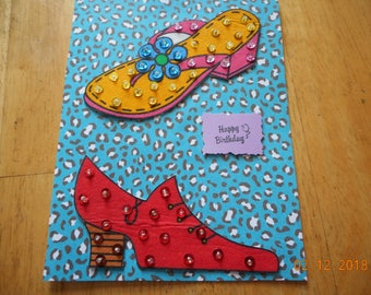 Ladies BIRTHDAY CARD,shoes with sequins,Girls' Night Out,Happy Birthday,handmade card