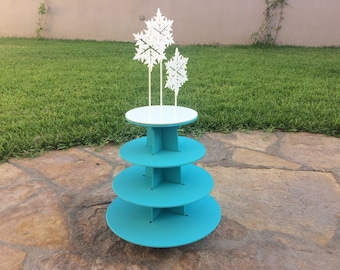 winter round 4 tiers cupcake stand-snowflake topper