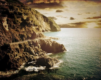 Vintage Cinque Terre Walking Path along the Sea Photographic Art Print, Wall Art for Home decor,