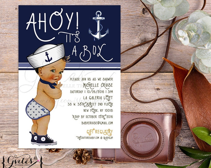 Nautical Baby Shower Invitation, African American, Ahoy its a boy, Little Sailor Baby Invites, Navy Blue, Ethnic 5x7, Gvites, Printable