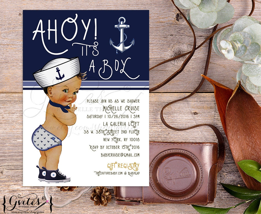 Nautical Baby Shower Invitation, African American, Ahoy its a boy ...