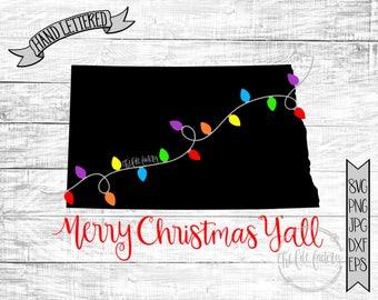 Merry Christmas Y'all North Dakota Christmas Lights SVG / Merry Christmas Cut File and Printable / Commercial Use