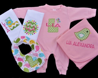 Baby Girl Sleeper Set - Baby Girl Clothing - Personalized - Birds - Coming Home Outfit for Baby Girl - Winter - Baby Shower Gift Girl