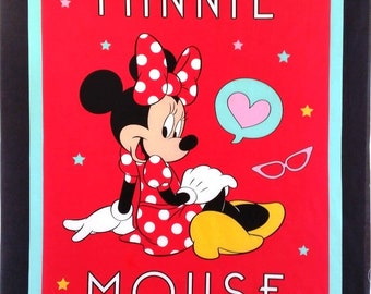 Minnie Mouse quilt or wallhanging cotton fabric panel - make a great handmade baby gift