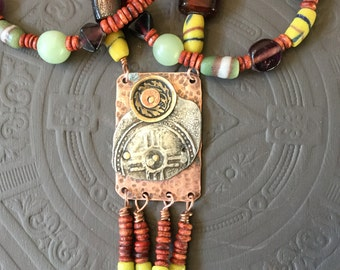 Boho Hippy Tribal Earthy Artsy Stamped Pewter and Copper Necklace
