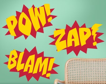 Superhero Wall Decals - Comic Book Sound Effects Word Bursts Blam Zap Pow, Super Hero Decal, Super Hero Wall Decor, Comic Book Bedroom Decor