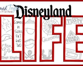 Disneyland LIFE Rides California Adventure Magic Kingdom Embroidery Design 4x4 5x7 6x10 in 9 formats-Applique Instant Download-DTDigitizing