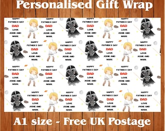 Personalised Father's Day Wrapping Paper with 2 tags