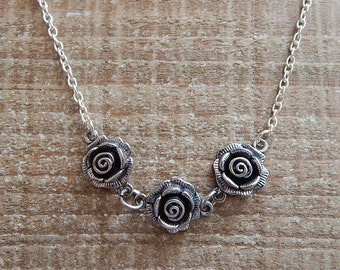 Triple Rose Necklace, Rose Pendant, Rose Necklace, Silver Necklace, Silver Pendant, 15 Inches With A 2 Inch Extender Chain