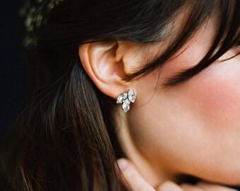 Bridal Earrings, Gold Earrings, Rhinestone Earrings, Bridal Jewelry, Rhinestone Leaf Earrings -Style 1016