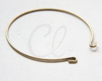 2 Pieces Antique Brass Cuff Bracelets - Bangle 65x1.4mm (1813C-U-254)