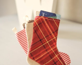 Gift Card Holder or Gift Bag Miniature Christmas Stocking Red Plaid Red Stripes Deer silhouette last minute gift