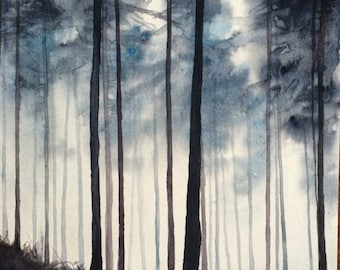 Pine forest, forest watercolor, Misty forest, pine tree painting, tree painting, Misty forest, watercolor trees, watercolor painting, forest