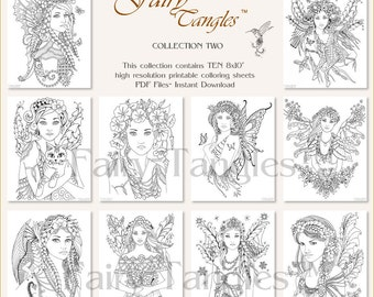 Fairy Tangles Printable Coloring Book Pages Bulk Collection 2 - TEN printable coloring pages - Digital Coloring Books Adult Coloring