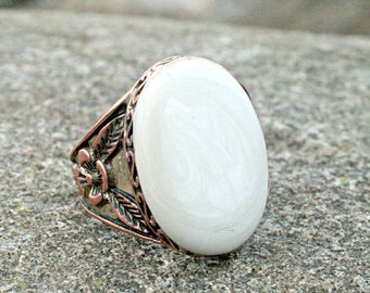 Riverstone Copper Ring | Vintage Jewelry | Vintage Ring | Statement Ring | Statement Jewelry | Antique Ring | Collector Ring | Gemstone Ring