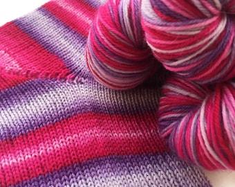 Hand dyed self striping merino sock yarn - Sherbet