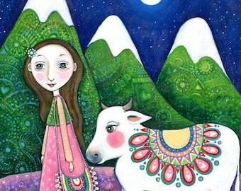 Girl and Cow Art Print Children's Wall Art Girls Room Decor Sacred Cow Art Animal Art Whimsical Folk Art Children's Wall Decor  - 'Nandi'