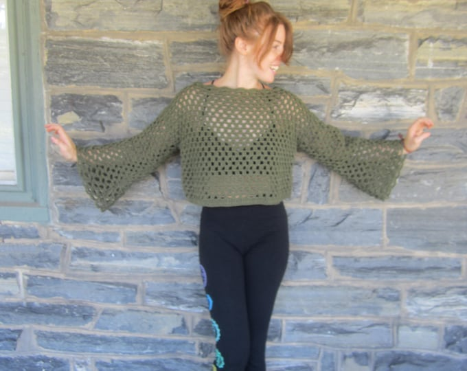 CROP SWEATER, Over size crop sweater, Crochet sweater, Womens sweater, crochet crop sweater,  Crop poncho, festival clothing, SWEATER